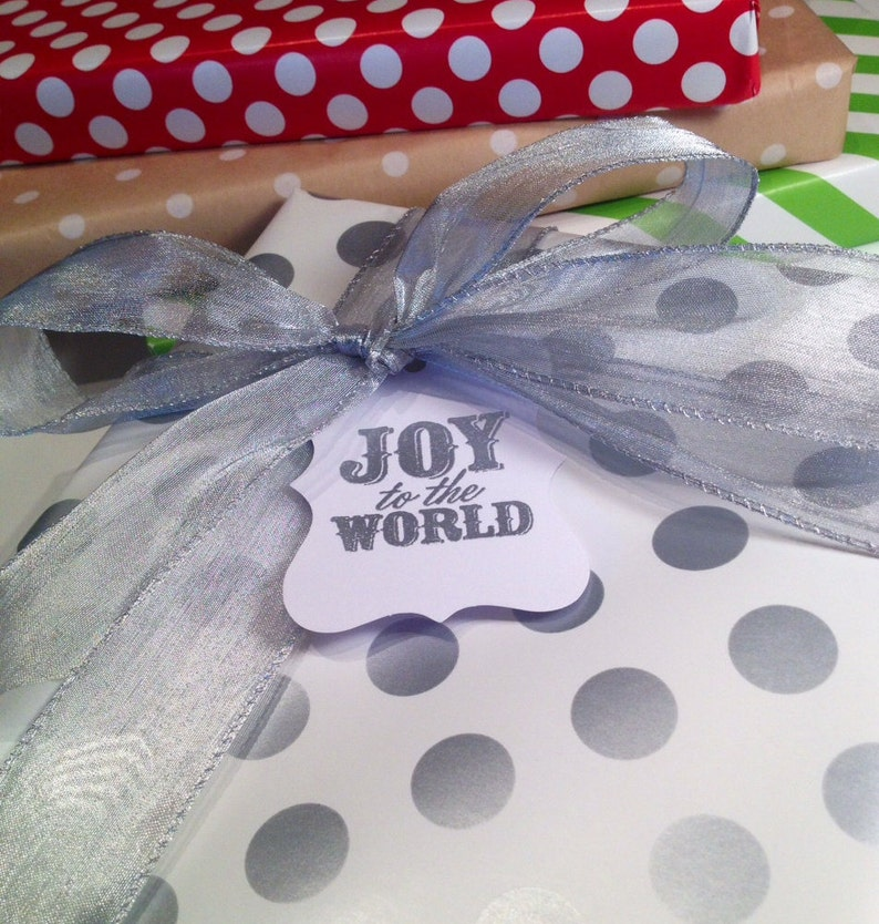 Set of 6 Joy to the World Christmas Gift TagsWine Tags Silver and White