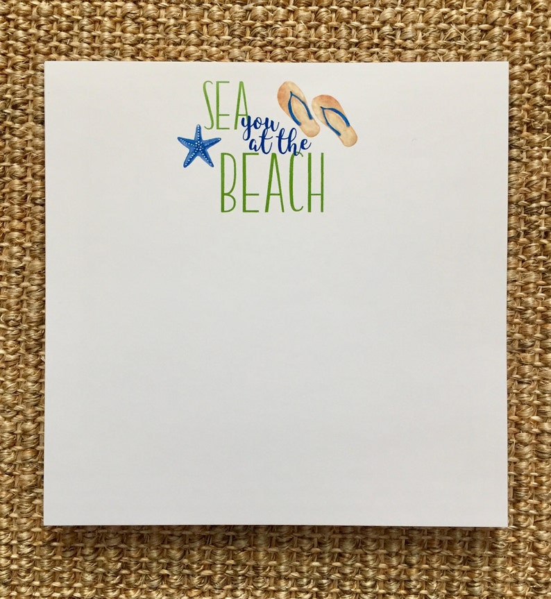 Sea You At The Beach Notepad Personalized Beach House Flip Flops Green and Blue Birthday Summer Hostess Gift
