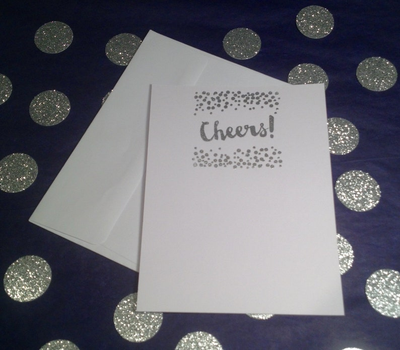 Set of 8 SIlver and White CelebrateConfettiCheers Flat Cards /& Envelopes