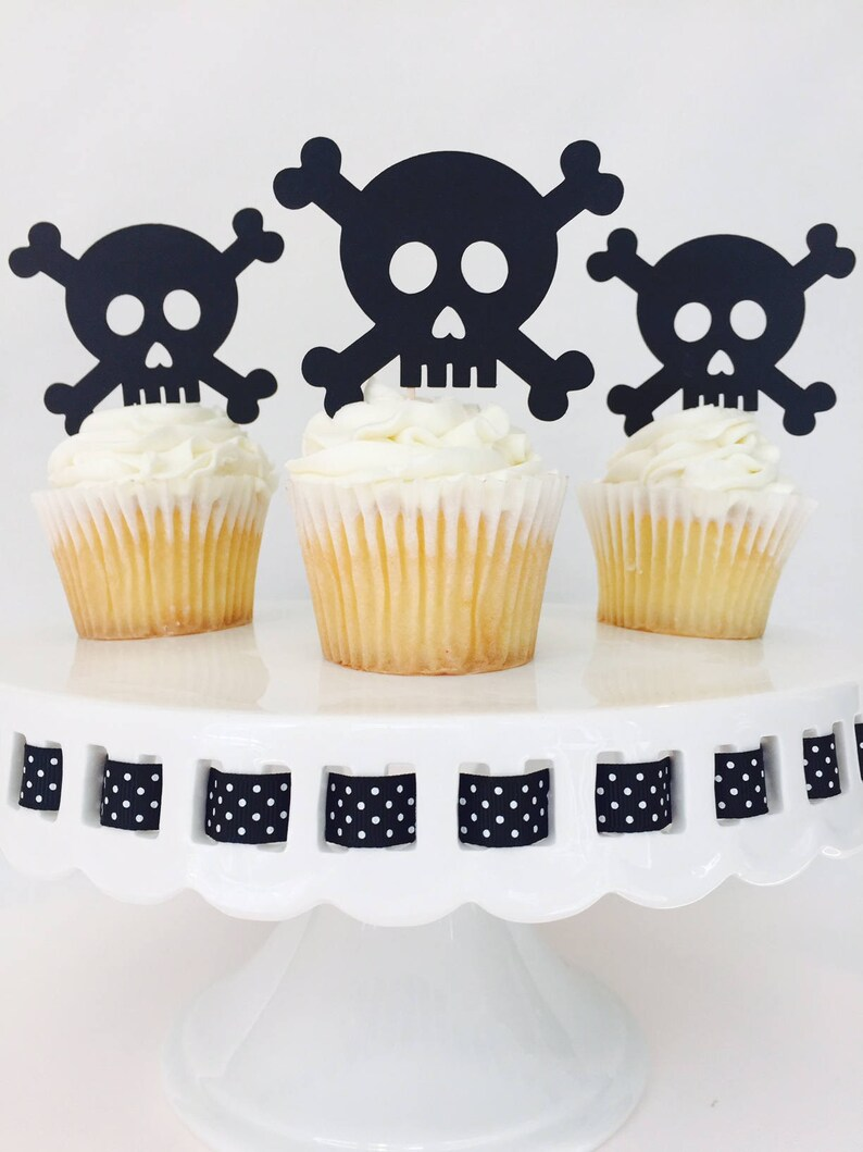 12 Skull And Crossbones Cupcake Toppers Halloween Etsy