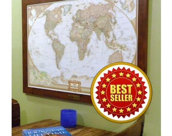 Framed Personalized World Push Pin Map with Brass Plate