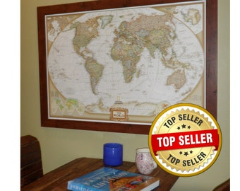 US Earthtoned Push Pin Travel Map With Pins And Frame X Etsy - World travel map with pins and frame