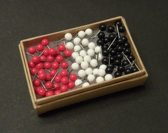 Map Push Pins Red, White and Black Round Heads Pack of 100