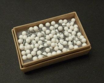 Map Push Pins White Round Heads Pack of 100