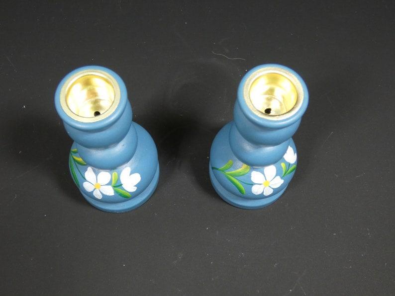 Wooden swedish candle holder candelabra set of 2 vintage scandinavian  candle holders 2 swedish candle sticks