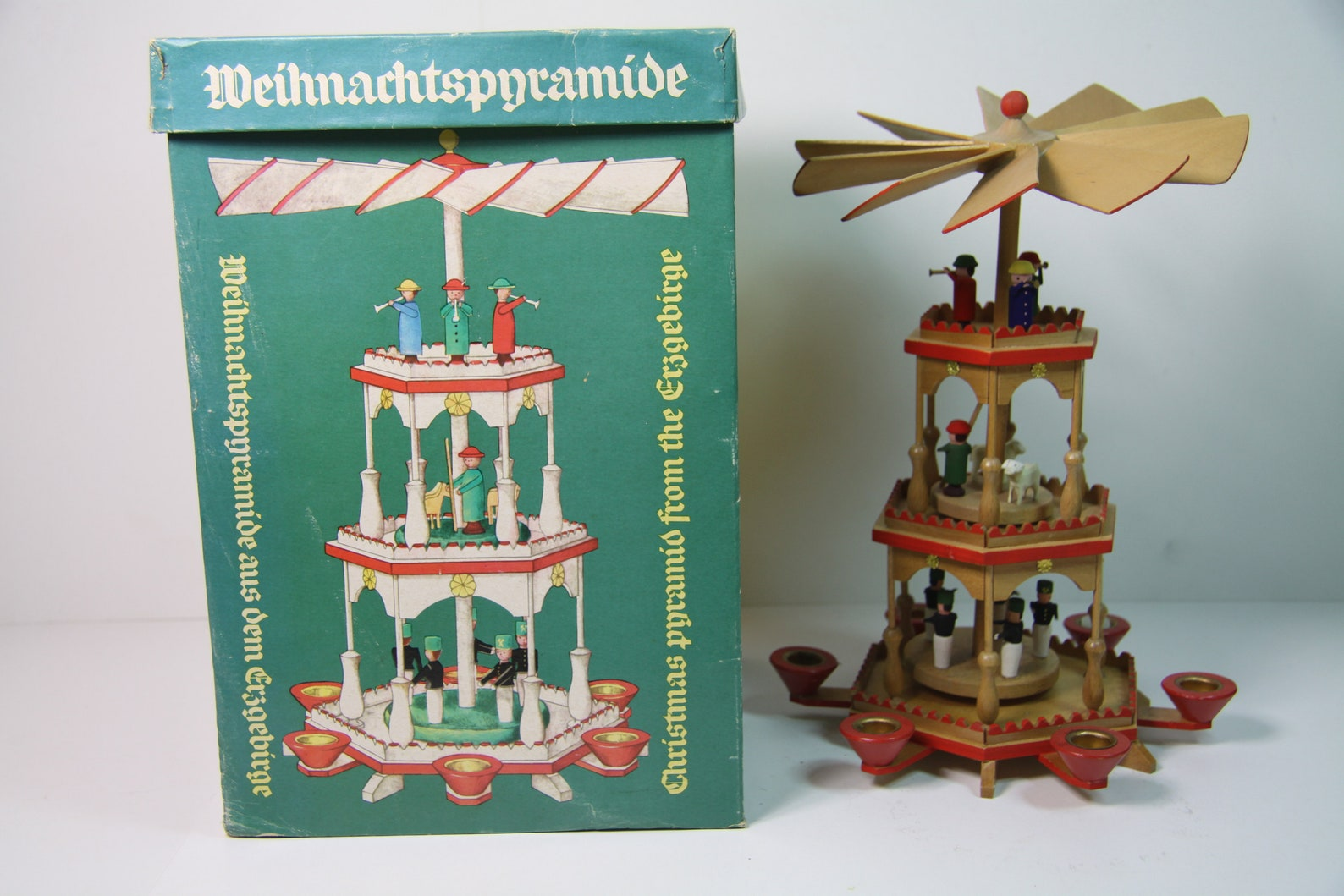 Very old exclusive Erzgebirge Christmas Pyramid, German carousel,handmade Christmas Caroussel,erzgebirge candle holder,Christmas windmill