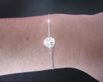 Bracelet adorned with a SWAROVSKI Silver 925 or gold filled 14-Carat ball
