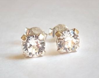 Swarovski crystal 6 mm 925 Sterling Silver earrings