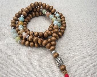 Mala Necklace   108 Prayer Beads   Japa Mala   Wood Mala   Buddhist Mala   Tassel Necklace   Yoga Necklace    Meditation Necklace