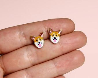 Corgi dog Stud Earrings Pembroke Welsh Corgi dog Stud Earrings Animal stud Animals earring Dog earrings Gift
