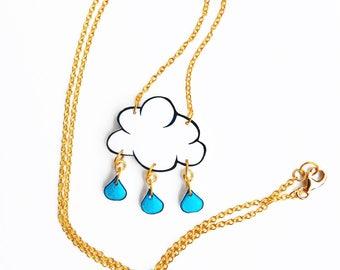 Cloud with rain drops Necklace, winter necklace, cloud charm necklace, gift idea