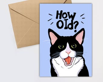 Old lady card etsy cat birthday card funny cat birthday card happy birthday how old birthday card cat card funny cat card crazy cat lady m4hsunfo