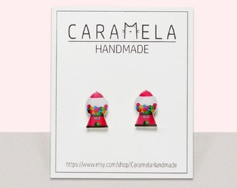 Candy machine Stud Earrings Candy gumball machine stud earrings Sweet earrings Candy earrings Gift for her