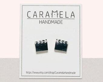Clapperboard stud earrings / Clapper Board earrings / Film director / movie earrings / director / gift earrings