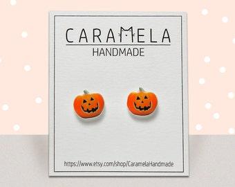 Jack-o'-lantern Stud Earrings Halloween Pumpkin earrings Halloween Gift idea