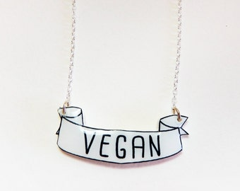 Vegan Necklace Vegan Jewelry Eco Friendly Recycled Gift idea