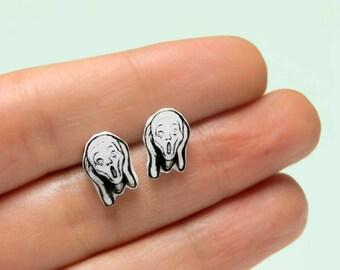 The Scream stud earrings Expressionism Art earrings Post earrings GIFT idea