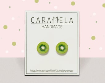 Kiwi Stud Earrings  Fruit stud earrings Post earrings Green earrings Food earrings Round earrings Gift idea