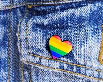 Rainbow Heart pin Gay pride brooch Rainbow gay pride Pin LGBT Rainbow Flag Heart Pin Gift Love Pin