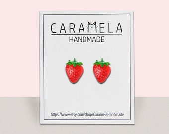 Strawberry Stud Earrings / Fruit earrings / summer stud earrings / Gift For Her