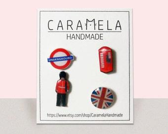 Set of 4 stud earrings London Earrings British Flag Earrings English Earrings England Earrings Union Jack Earrings UK Earrings British Flag