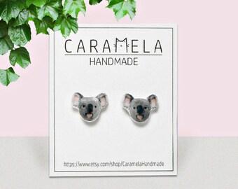 Koala Stud Earrings Animal stud Animals earring Koala earrings Koala bear post earrings Gift idea for her
