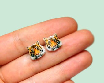 Tiger Stud Earrings Animal stud Animals earring Tiger earrings Wild animals stud earring Tiger Jewelry GIFT FOR HER