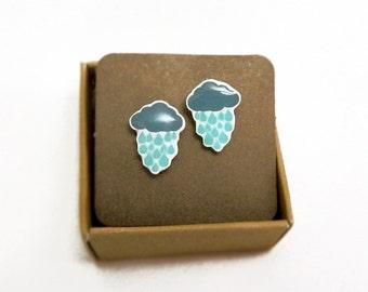 Rainy Day Cloud stud earrings Cloud with rain drops earrings