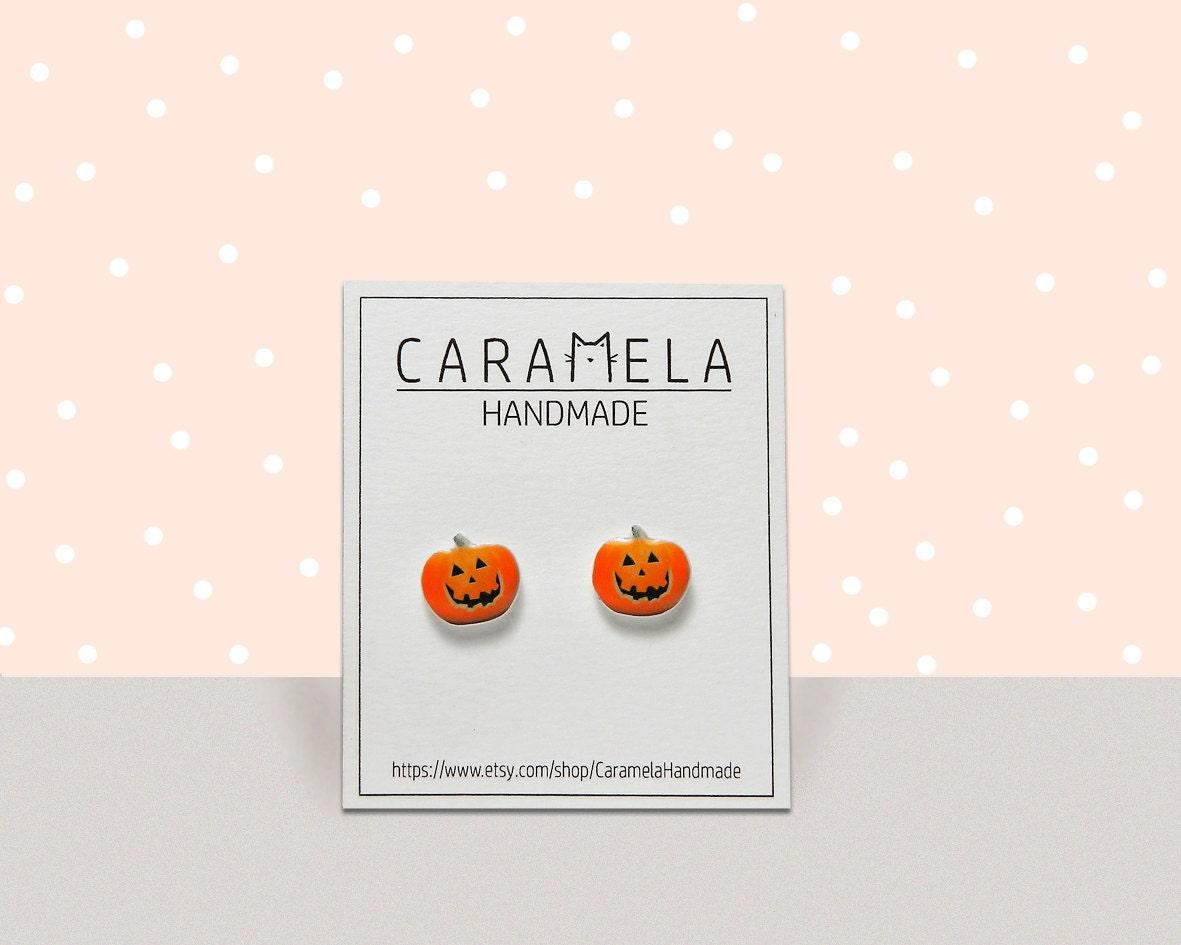 Jack o lantern stud earrings halloween pumpkin earrings etsy