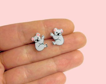 Koala Hanging Stud Earrings Animal stud Animals earring Koala earrings Koala bear post earrings Gift idea for her