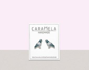 Pigeons Stud Earrings Bird stud earrings Bird earrings Pigeons post earrings Pigeons jewelry Gift idea