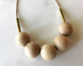 Wood Bead and Brass Bar Necklace - Natural