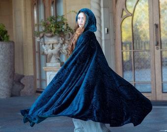 Velvet fantasy cape, Dark green and blue hooded cloak, LARP costume