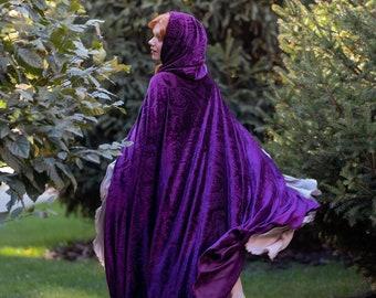 Velvet fantasy cape, Purple hooded cloak, LARP costume