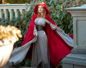 Vegan wool cloak with hood, Medieval fantasy hooded cloak, Red hooded cape