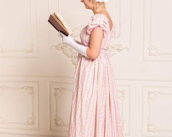 Rose regency dress, Jane Austen gown, Reenactment Costume, made to order