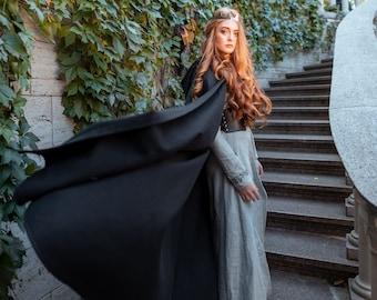 Vegan wool cloak with hood, Medieval fantasy hooded cloak, Black hooded cape