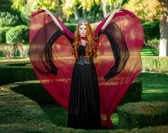 Red tulle cape, Sheer hooded cloak, Wicca cloak, Fantasy elven cape, Red wedding cape, Made to order