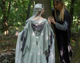 Silver gray elven dress, romantic fantasy gown, fantasy wedding dress, fairy wedding dress, Made to order
