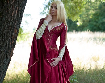 ef51447e467c Medieval Fantasy Crimson Dress Game of Thrones inspired Cersei gown made to  order
