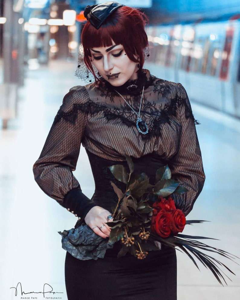 084a29c4bb11 Edwardian style costume Underbust corset skirt Lace shirt | Etsy