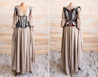 Fantasy elven dress with steel-boned vest, Elven wedding dress, LARP costume, Fairy wedding dress