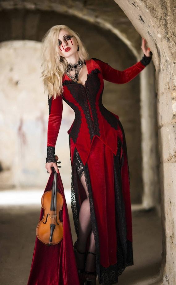 Fantasy Dress Vampire Dress Red And Black Gothic Dress Etsy