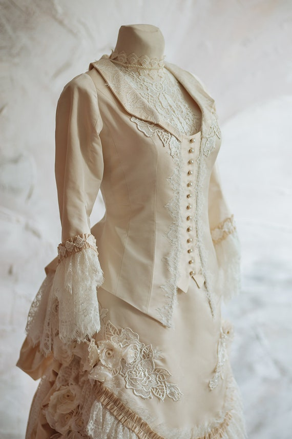 Steampunk Wedding Dresses | Vintage, Victorian, Black Victorian wedding silk dress Historical dress Jacket and bustle skirt Petticoat Vintage wedding dress Bridal gown Alternative wedding $1,150.00 AT vintagedancer.com