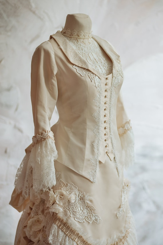 Victorian Wedding Dresses, Shoes, Accessories Victorian wedding silk dress Historical dress Jacket and bustle skirt Petticoat Vintage wedding dress Bridal gown Alternative wedding $1,150.00 AT vintagedancer.com