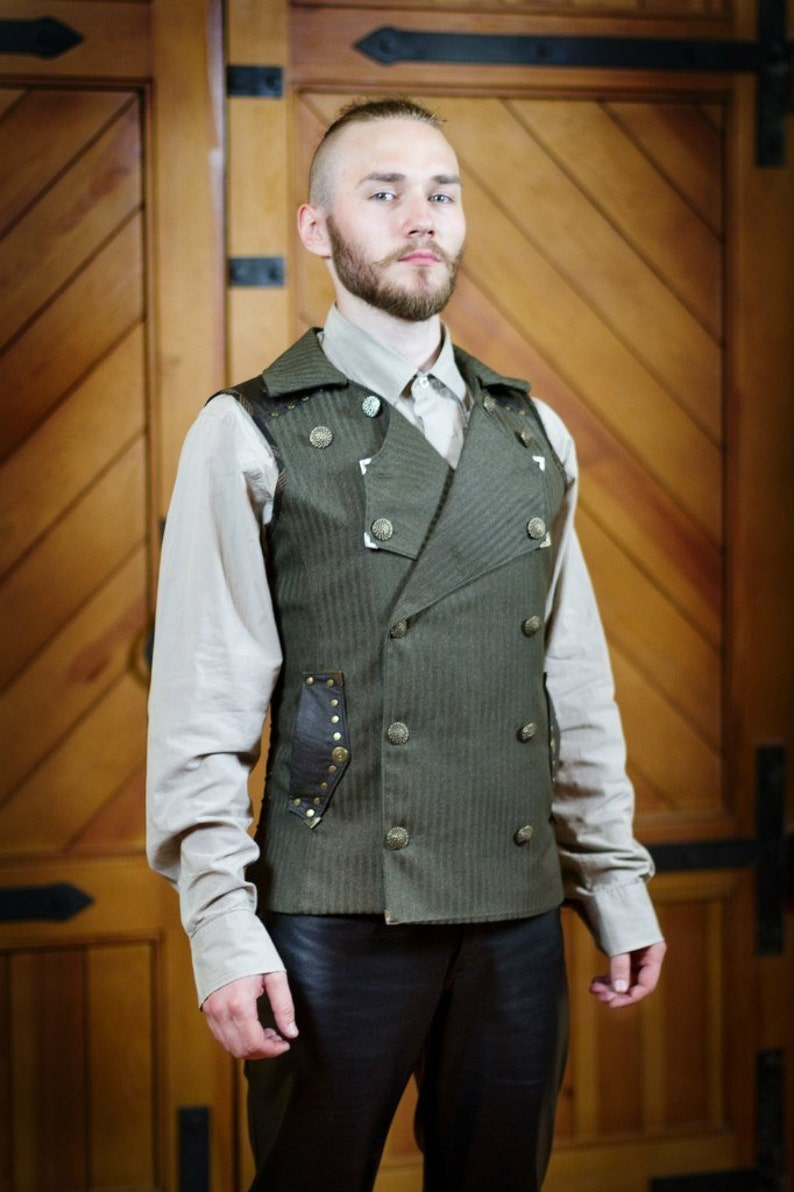 Men's Steampunk Clothing, Costumes, Fashion A Double-Breasted Steampunk Vest $295.00 AT vintagedancer.com