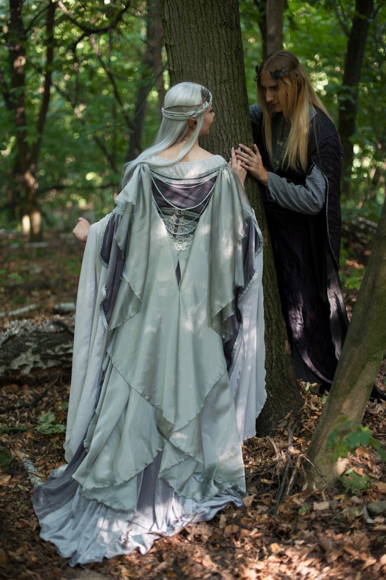 2c8dbc7803 Silver gray elven dress, romantic fantasy gown, wedding dress, fantasy  inspired, Made to order
