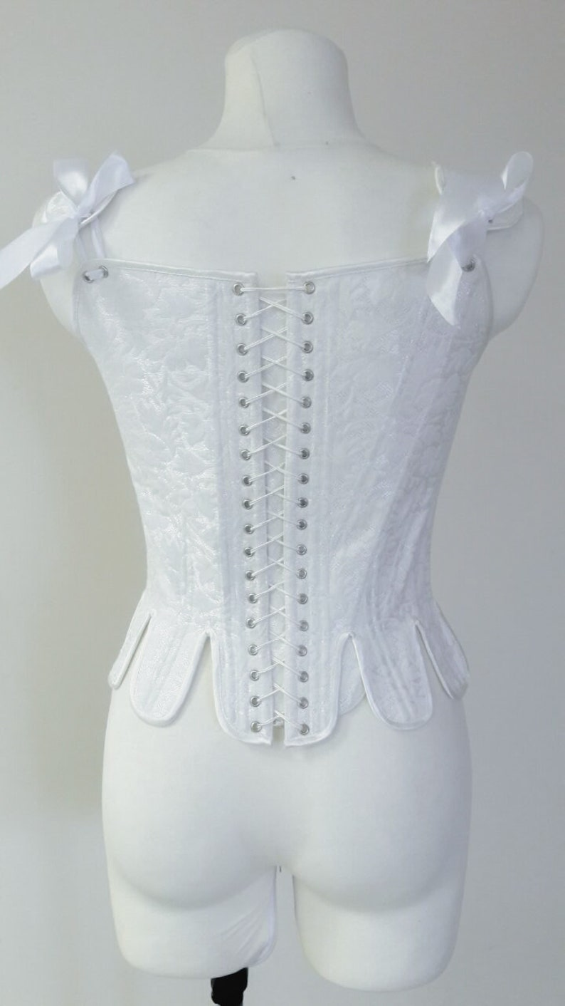 Marie Antoinette waist corset 18th century woman clothing White rococo corset boned lingerie historical reenactment or cosplay corset