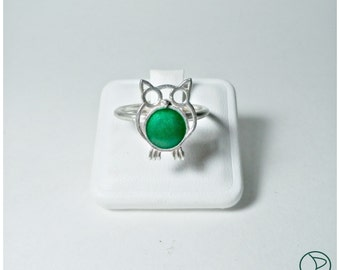 OWL Adjustable ring, silver and enamel (Owl adjustable ring, silver and enamel)