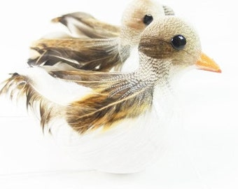 3 Brown Grey Ducks Feather Ducks Fake Brown Ducks Artificial Ducks Craft Supplies Scrapbooking Craft Embellishment